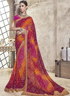 Shop Sahded Wine Marble Georgette Bandhani Saree Online