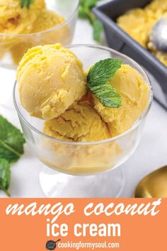 Mango Coconut Ice Cream! This creamy mango ice cream is made with coconut milk. It only requires three ingredients. It is a great dairy-free option too! #cookingformysoul Homemade Mango Ice Cream, Easy Ice Cream Recipe, Coconut Ice Cream, Vegan Ice Cream, Ice Cream Recipes, Homemade Ice, Ice Lolly Recipes, Summer Dessert Recipes, Popsicle Recipes