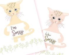 I'm Sorry Card   #printable #apologies #card  #cute #cats  #kitten #blank #card #kitty #love #digital #illustrated #notecard #diy  #greeting #emotion #forgiveness