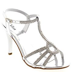 Womens Pumps Mid Heel Sling Back Bridal TBar Party Diamond Prom Evening  Silver  8  39  CD0178I * Want additional info? Click on the image.