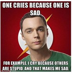 One cries because one is sad, for example I cry because others are stupid and that makes me sad!