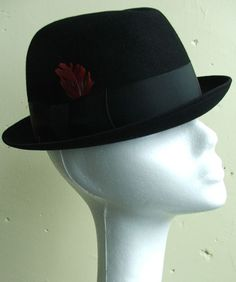 34c654aac5129 Vintage 60s Black Stetson Rat Pack Style Stingy Brim Fedora Hat 7 This  great vintage fedora