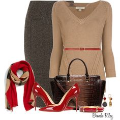Wonderful fall outfit for the office. Burberry Cashmere Scarf, created by brendariley-1 on Polyvore