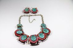 SEASHELL NECKLACE & EARRING Set with Royal by queenofshellart, $65.00
