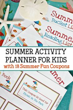 Keep track of your summer activities with this printable summer planner! Everything you need to plan a summer of fun including a printable summer coupon book. Great idea to keep kids on track all summer long.