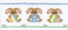 Smocking plate with three bunnies holding Easter eggs. 8 rows of smocking on a yoke. Smocking Baby, Smocking Plates, Smocking Patterns, Embroidery Patterns, Hand Embroidery, Cross Stitch Patterns, Smocked Baby Clothes, Smocking Tutorial, Smocks