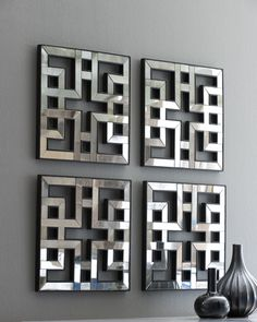 Four Akari Mirrored Fretwork Panels