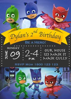 ======= This listing is for a digital invitation ========  NO PHYSICAL INVITATION WILL BE POSTED!!!  The listing is for a PJ Masks birthday