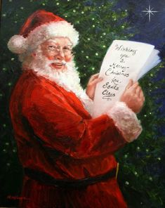 Items similar to Personalized Santa Claus with List Giclee Print on Etsy