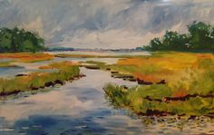 Molly Voss Fannon - painting of Rehoboth marshes. Work in progress