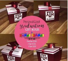 Personalized Graduation Gift Boxes!! For your Orders and Reservation Email handyshandydesigns@gmail.com #handmade #designs #graduation #gift Boxes