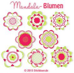 Mandala Flowers - Mandala Flowers / We collected 8 different motifs, all for the hoop for you to use them for embellishment. Embellishments, Crochet Earrings, Applique, Blog, Embroidery, Flowers, Tips, Appliques, Deco
