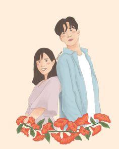 Couple Aesthetic, Aesthetic Art, Cute Couple Art, Cute Couples, Kim Ro Woon, Wattpad Book Covers, Dramas, Tumblr Art, Portrait Illustration