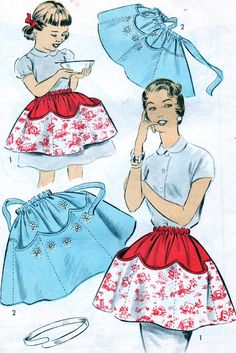 1950's  Advance #6925 Sew-Easy Mother Daughter Apron Pattens. by anne8865, etsy