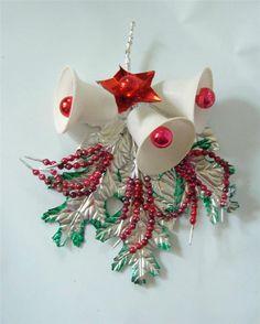 Vintage Xmas Spray Ornament Foiled Leaves Sugar Bells Mercury Glass Bead Spike