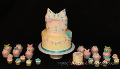 Pennants and Butterflies with bow by Flying B Cakes on www.cakeside.com!