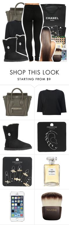 """""""black beauty"""" by kittensnamedmittenandsocks ❤ liked on Polyvore featuring Theyskens' Theory, UGG, Chanel, Topshop, AT&T and Hourglass Cosmetics"""