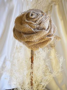 """1 Large 17"""" Tall Burlap Rose Flower Stem for weddings, table decor, centerpieces. Burlap, lace and natural twig stem."""