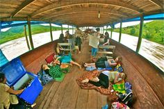 Slow boat down the Mekong from Thailand to Laos.