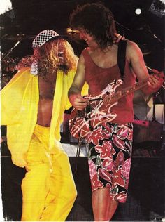 Eddie Van Halen and Sammy Hagar duke it out for loudest on stage outfits, 1988