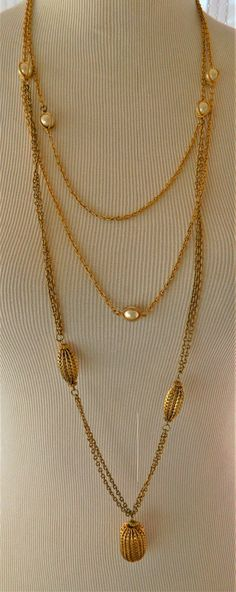 """Vintage Multi Strand Faux Pearl Necklace 41"""", Flapper Style, Long Necklace, Gold Tone, Costume Jewelry by DecoOwl on Etsy"""