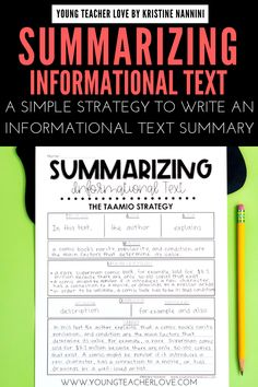 Do your students need help summarizing informational text? Use the TAAMIO strategy to write great informational text summaries. Summary Writing, Sentence Writing, Informational Writing, Summarize Nonfiction, Informative Writing, Professor, Grades, Just For You, Text Structures