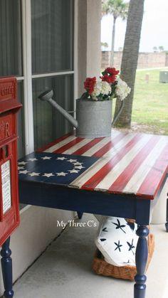 Hand Painted Ol' Glory Table.  Refurbished by My Three Cs. American Flag, Americana, Home Decor, Shabby Chic. http://www.facebook.com/mythreecs