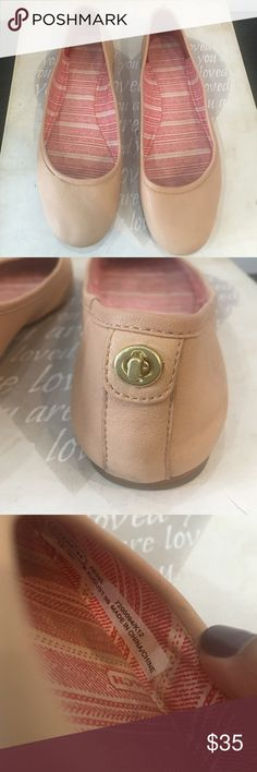 Coach August Flat Coach August flat in pale pink. Good condition, some water marks and normal wear. Coach Shoes Flats & Loafers