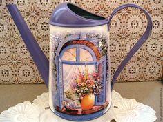 Купить Лейка Окно в лето - лейка, лейка для полива цветов, лейка декупаж, лейка для цветов