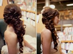 This is the beautiful and romantic hairstyle that I have picked out for Julie's wedding day. I love the curls and I love how it all goes to one side. It reminds me of Princess Rapunzel and it fits both the proverbial princess bride and the exhibitionist bride because it is so over the top.