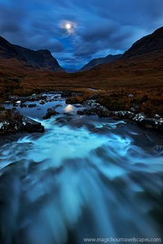 Glencoe, highland, blue, cascades, water, mountains, three sisters, Scotland
