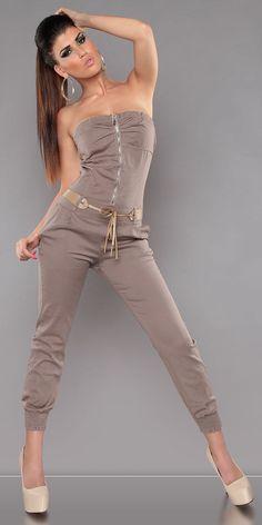 Sexy KouCla Bandeau-Overall mit Gürtel Trägerloser Overall Hosen,S=36, M=38