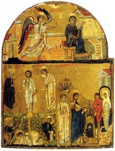 The Annunciation. The Transfiguration. The Raising of Lazarus. The Holy Monastery of Saint Catherine, Sinai. Religious Images, Religious Icons, Religious Art, Byzantine Icons, Byzantine Art, Early Christian, Christian Art, Raising Of Lazarus, Greek Icons