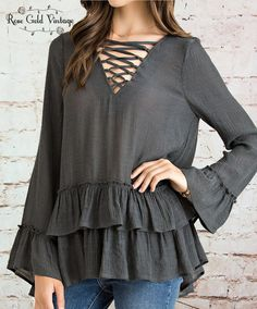 Lace Up Boho Ruffle Top - Charcoal – Rose Gold Vintage