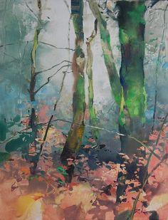 Tryon Creek Autumn 26x20 watercolor Randall David Tipton
