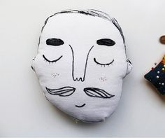 novelty man with a moustache face cushion by eviebarrow on Etsy