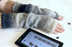 Grey Slouchy Wool Arm Warmers Colorful Grey Fingerless by NastiaDi