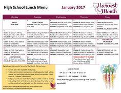 January 2017 High School Lunch Menu