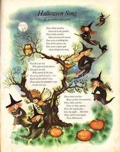 Vintage Halloween Song Poem Art Print 11 x 14 Retro Halloween, Vintage Halloween Cards, Halloween Poems, Halloween Prints, Halloween Pictures, Holidays Halloween, Spooky Halloween, Happy Halloween, Halloween Decorations