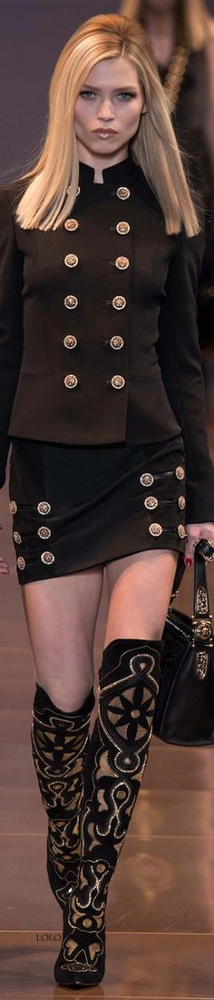 Versace Fall 2014 RTW I love the jacket...the skirt looks great on her it is too short for me. I am not a short skirt person