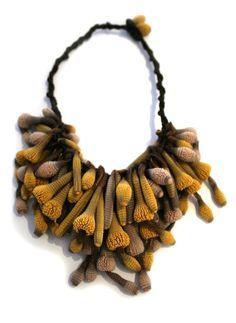 Golden necklace of Silicone & silk by Tzuri Gueta Funky Jewelry, Modern Jewelry, Jewelry Art, Handmade Jewelry, Jewelry Design, Textile Jewelry, Fabric Jewelry, Golden Necklace, Body Adornment
