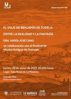"""Hoy,a las 20h,en #LaMadraza tendrá lugar la conferencia """"El viaje de Benjamín de Tudela: entre la realidad y la fantasía"""". Será impartida por """"María José Cano"""" y organizado por el """"Festival de Música Antigua de Granada"""",en colaboración con la #CMDeFallaUGR E.Libre. https://lamadraza.ugr.es/evento/conferencia-el-viaje-de-benjamin-de-tudela-entre-la-realidad-y-la-fantasia/"""