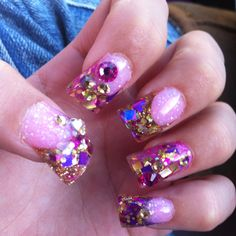 Gold pink and purple  glitter nails :)