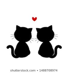 Black cats kittens with heart isolated on white background. Black Cat Anime, Black Cats, Spiderman Black Cat, Black Cat Marvel, Black Cat Tattoos, Tattoo Black, Art Drawings Sketches, Easy Drawings, Black Cat Aesthetic