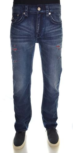 True Religion Mens Straight with Flaps Jeans Size 32 Red Weft NWT $273 #TrueReligion #ClassicStraightLeg