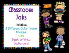 Classroom Jobs Labels (Black and Bright Colors) by Extraordinary ELA | Teachers Pay Teachers