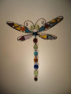 Stained Glass Dragonfly, Dragonfly Suncatcher. $25.00, via Etsy.