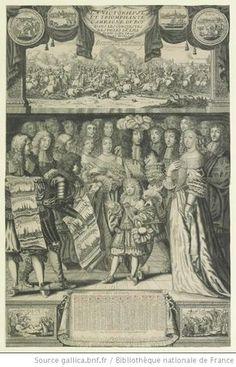 """Henriette-Anne d'Orleans (1644-1670) to left of King, and Philippe d'Orleans (1640-1701) to right of King in """"LA VICTORIEVSE / ET TRIOMPHANTE / CAMPAGNE DV ROY / DANS LES CONQVESTES / DES VILLES DE LILE"""", 1668, French school"""