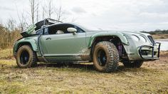 We can't get enough of this one-off Dakar rally-inspired Bentley! Kahn Design, Rich Cars, Cooper Tires, Tires Online, Bentley Continental Gt, Roll Cage, Fender Flares, Wide Body, Rally Car