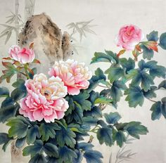 "According to the Chinese Theory of Five Elements, peony is boiled down to ""wood"" (mu 木). Description from inkdancechinesepaintings.com. I searched for this on bing.com/images"